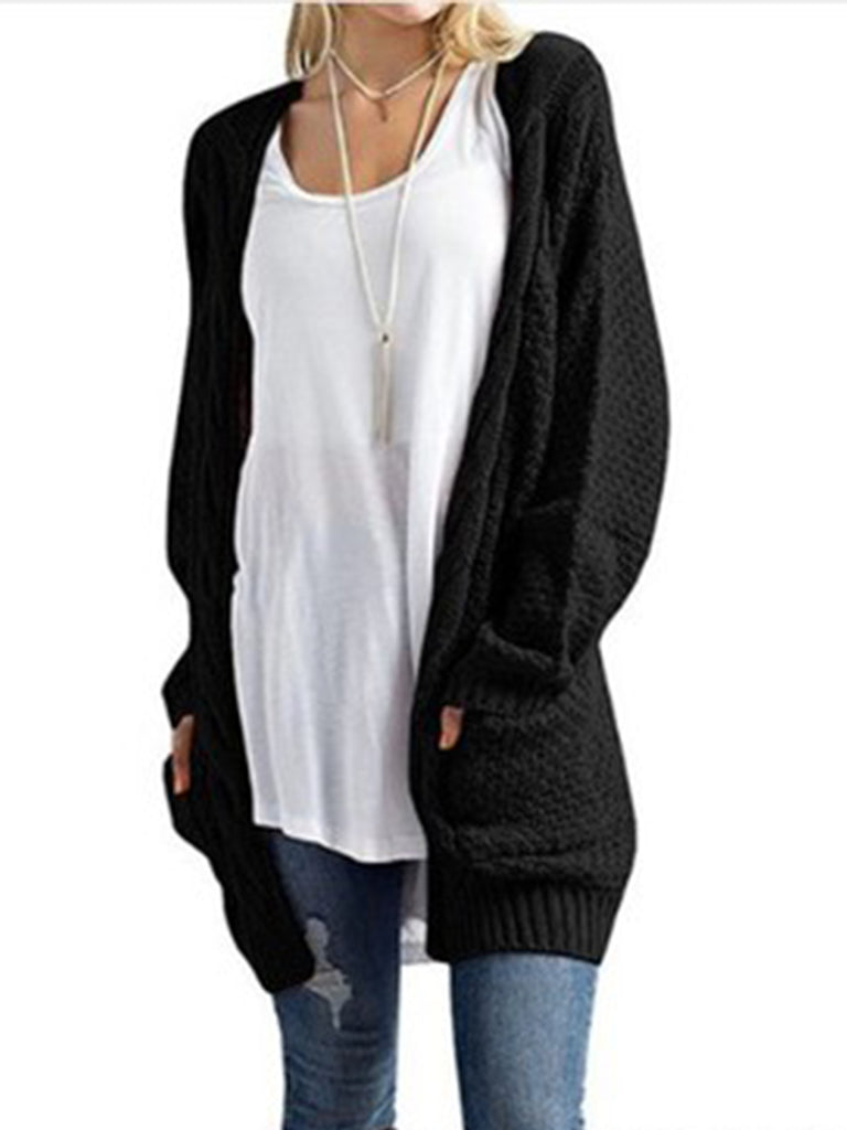 Womens Long Sleeve Twist Pockets Knit Cardigan Loose Solid Long Sweater