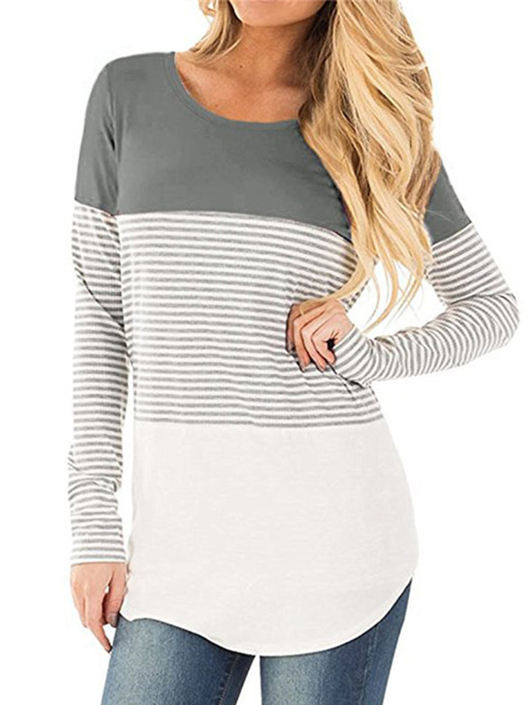 Womens Round Neck Causal T Shirts Color Block Striped Blouses Basic Tops