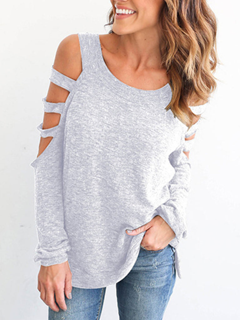 Women's Sexy Hollowed Out Shoulder 3/4 Sleeve Scoop Neck T Shirt Blouse