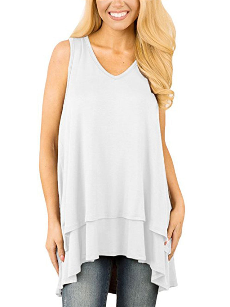Womens V Neck Sleeveless Flowy Loose High Low Tank Tops Blouse T Shirts