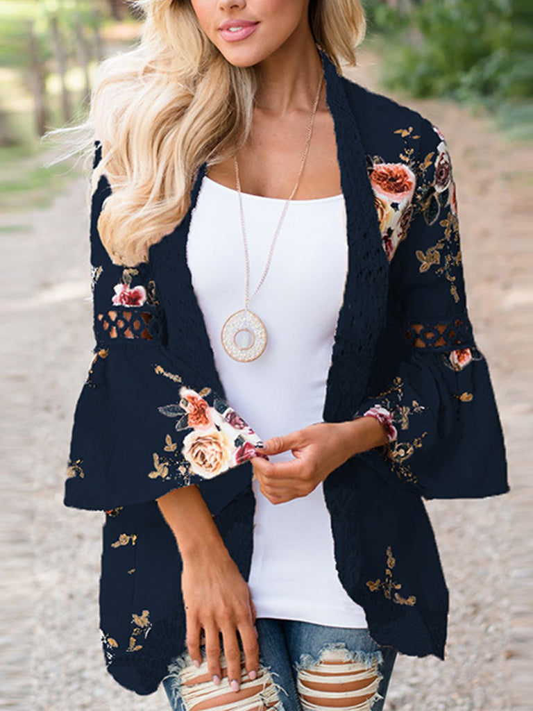 Women Lace stitching printed cardigan top