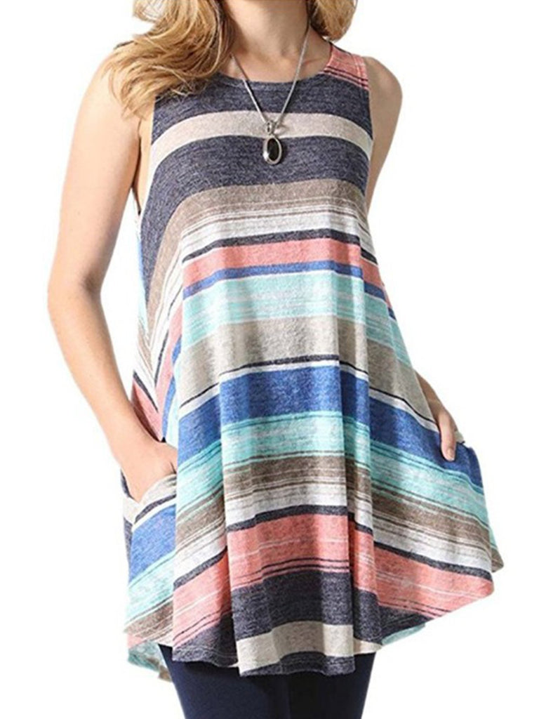 Women Sleeveless crew neck print dress