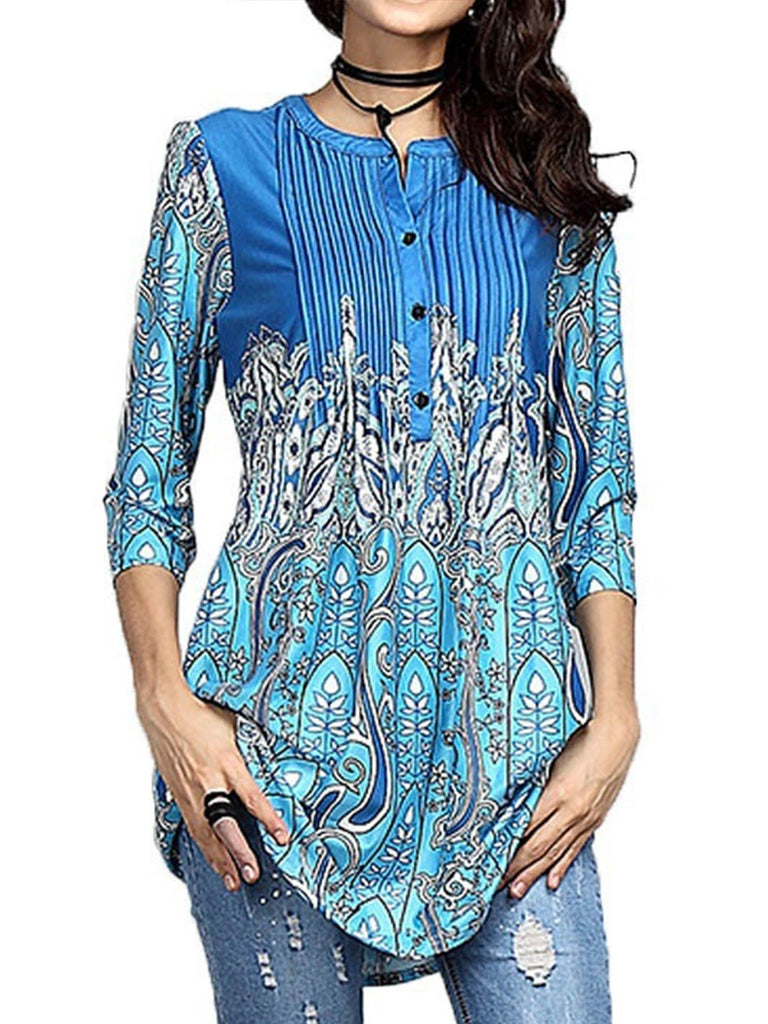 Women's Print Round Neck Pleated Cropped 3/4 Long Sleeve T-Shirt Blouse