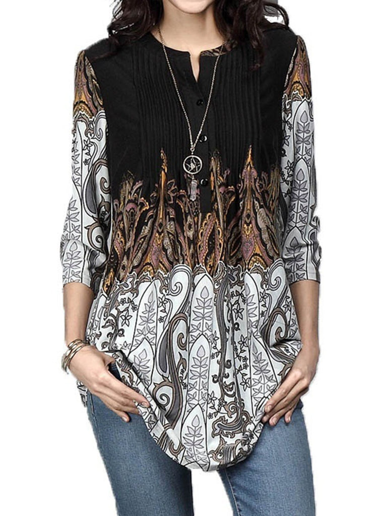 Women's Print Round Neck Pleated Cropped Sleeve T-Shirt