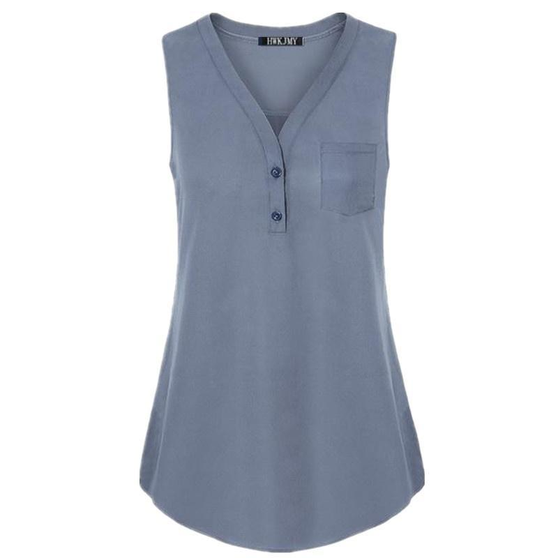 Women's Fashion Solid Color V-neck Button Pocket Sleeveless Shirt Sexy Loose Casual Tank Top Plus Size XS-5XL