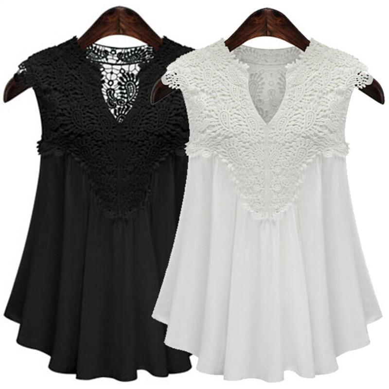 Sleeveless V-neck Stitching Lace Pleated Chiffon Top