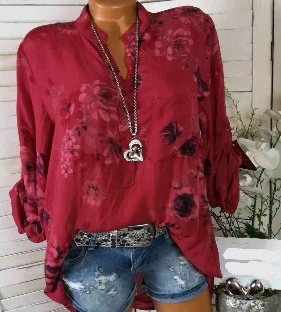V-neck Women Blouse Long Sleeve Shirts Floral Print Plus Size Tops