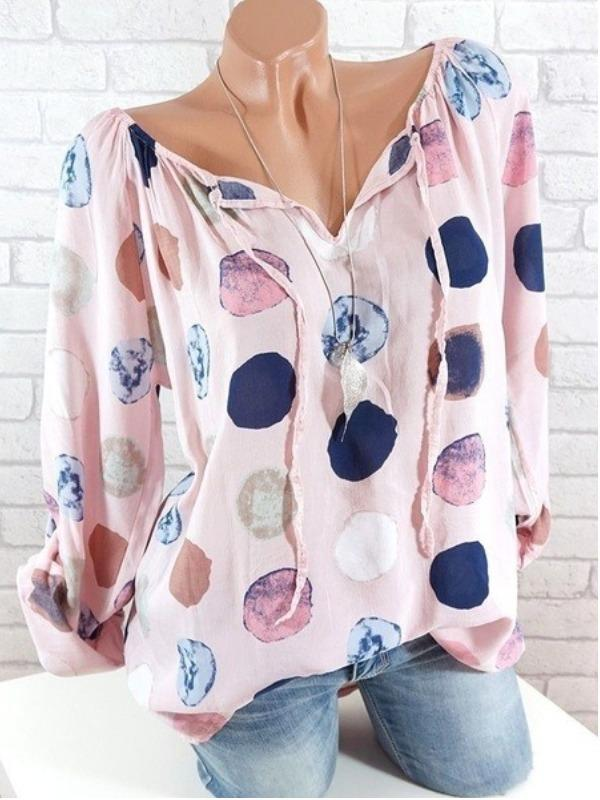 Plus Size Women Fashion Long Sleeves Blouse Casual Loose Dot Printing Tops