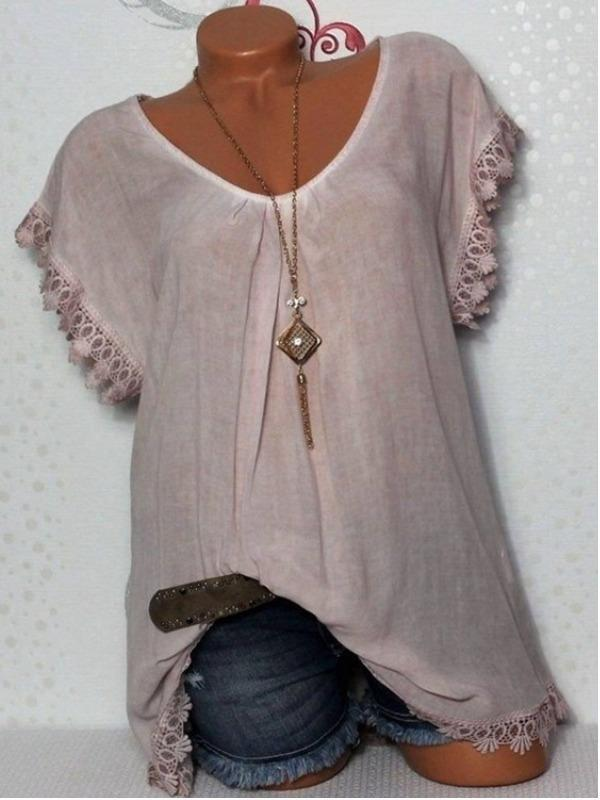Plus Size Women Fashion Blouse Casual Loose Short Sleeve Tops