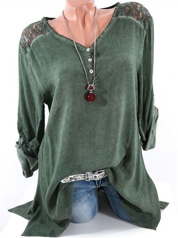 Plus Size Women Fashion Blouse Casual Loose Long Sleeve Tops