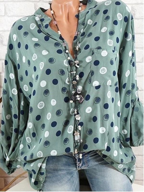 Plus Size Women Fashion Long Sleeves Blouse Casual Loose Tops
