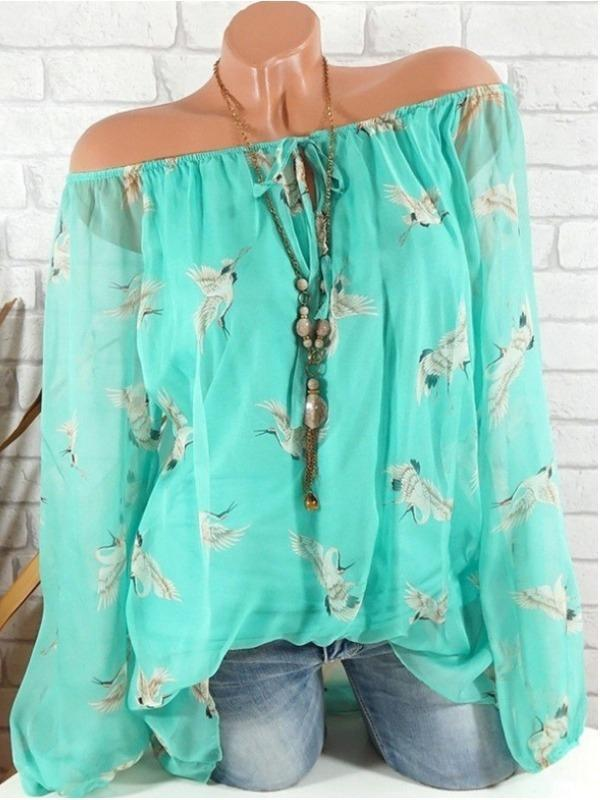 Plus Size Women Shoulder off Blouse Casual Loose Chiffon Tops