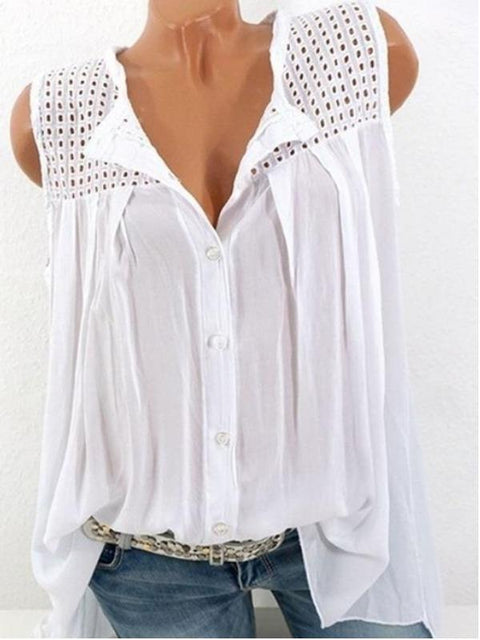 Plus Size Women Sleeveless Blouse Casual Loose Tops