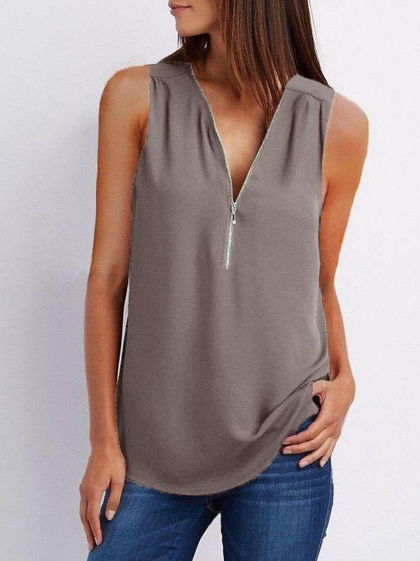 Womens Zipper Sleeveless Chiffon Casual Vest Blouse Ladies T Shirt Top Plus Size
