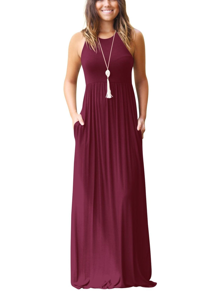 Women's Sleeveless Racerback Loose Plain Maxi Dresses Casual Long Dresses with Pockets