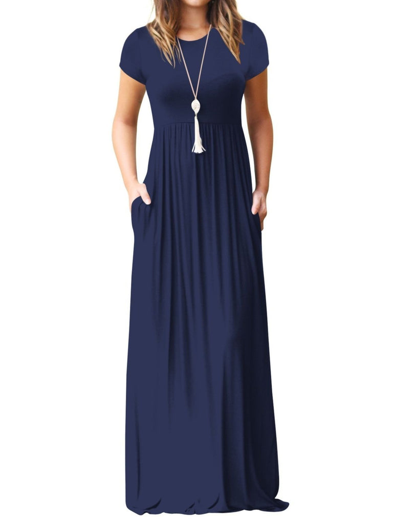 836c9ecd5a3b Women s Short Sleeve Maxi Dress with Pockets Plain Loose Swing Casual Floor  Length Long Dresses