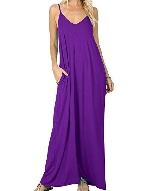 Women's Summer Casual Plain Flowy Pockets Loose Beach Cami Maxi Dress
