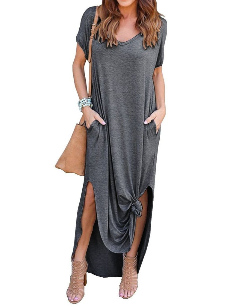 Women's Casual Loose Pocket Long Dress Short Sleeve Split Maxi Dresses