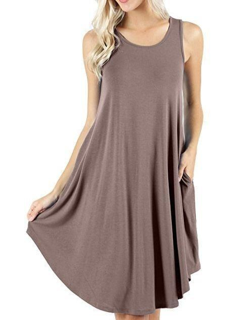 Women's Casual Loose Pocket Short Dress Short Sleeve