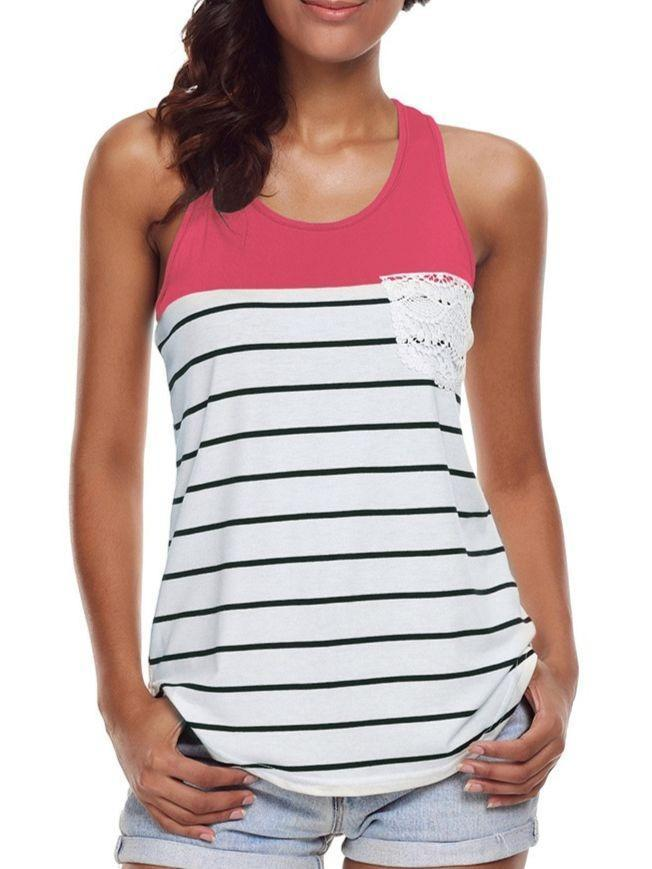 Summer Fashion Women Sleeveless Striped T-Shirt Loose Blouse Tops