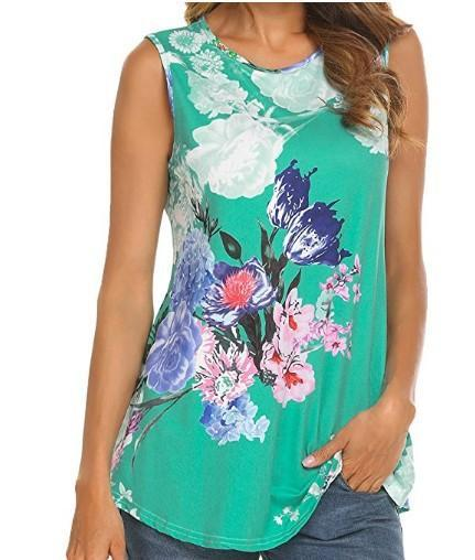 Summer Fashion Women Sleeveless Floral Printed T-Shirt Loose Blouse Tops