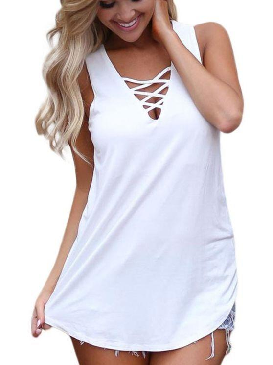 Summer Women Lace Up Front Vest Shirt Tank Tops Blouse