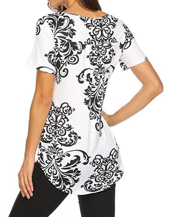 Summer Women Short Sleeve Vintage Printed Shirt Tank Tops Blouse