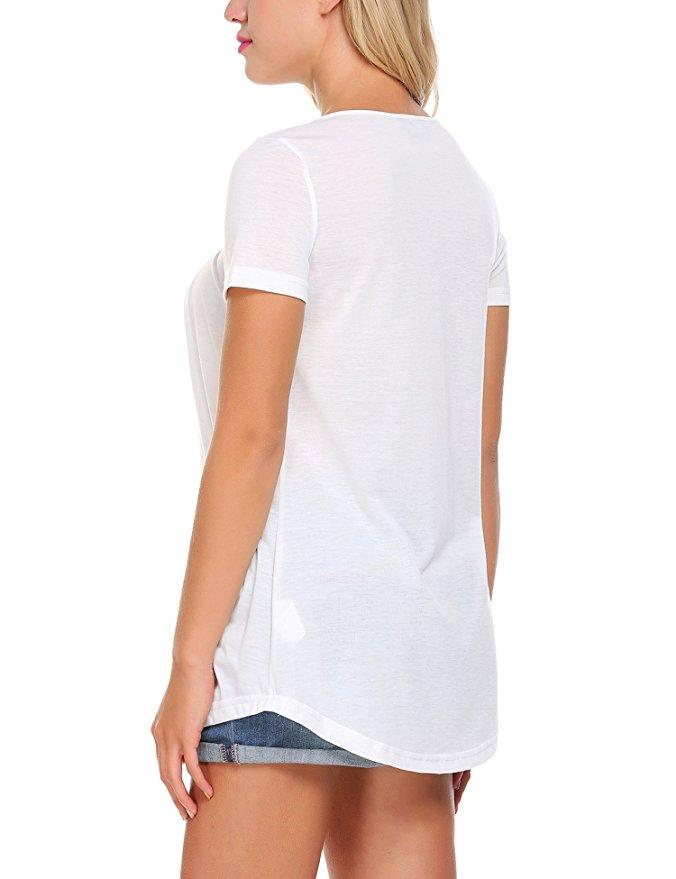 Summer Women Short Sleeve T-Shirt Tank Tops Blouse with Button Front