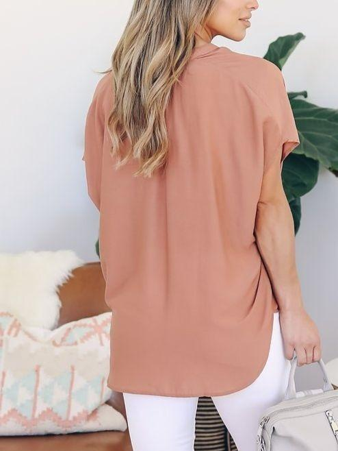 Women Short Sleeve  Loose Chiffon Blouse Tops