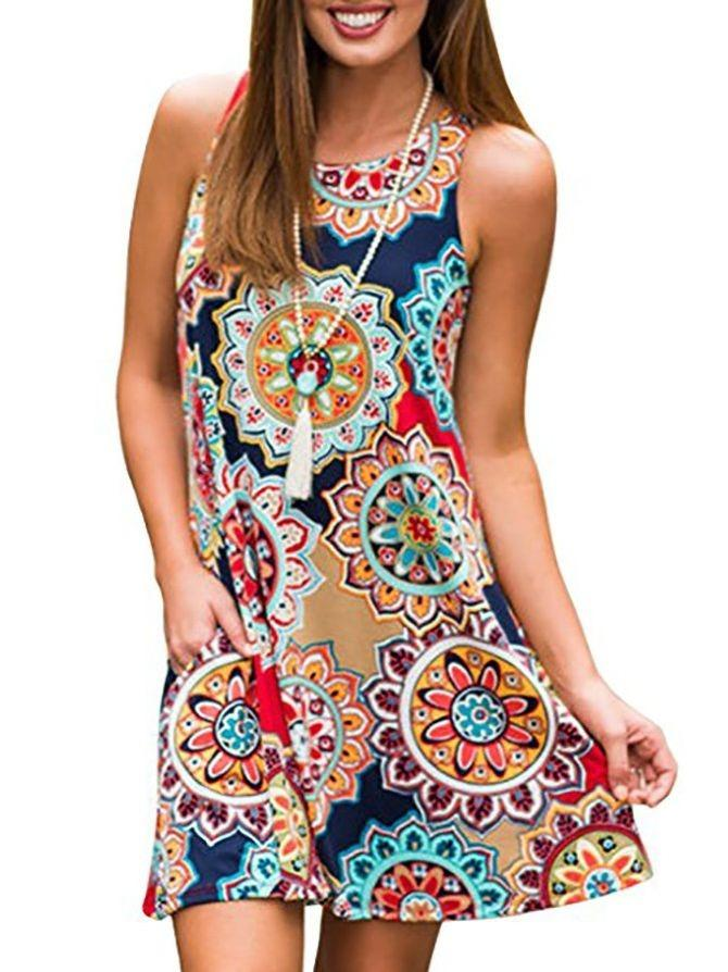 Women Ladies Fashion Printing Sleeveless Tunic Dress