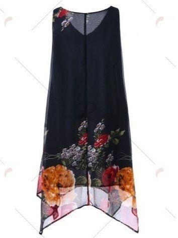 Summer V-neck Sexy Casual Loose Floral Print Chiffon Tank Tops
