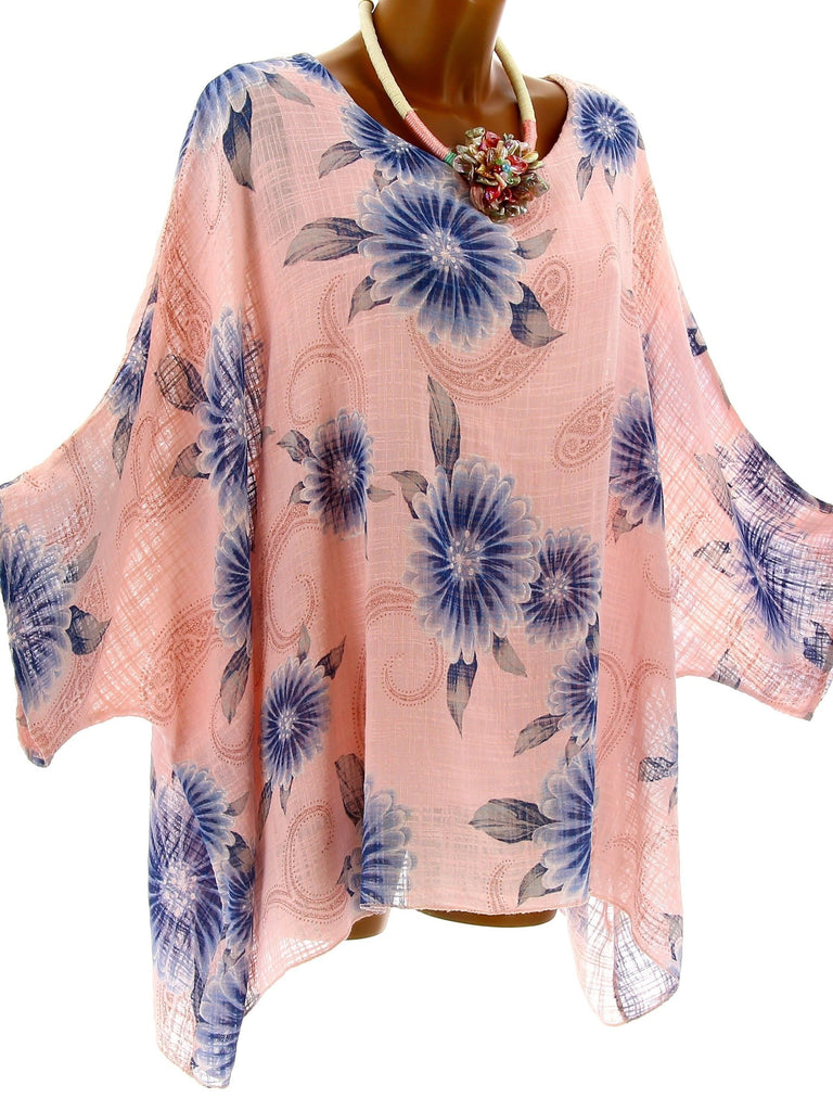 Women High Quality Loose Bat Sleeve Printed Blouse Tops