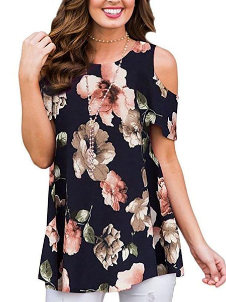 Women High Quality Short Sleeve Printed Cold Shoulder Blouse Tops