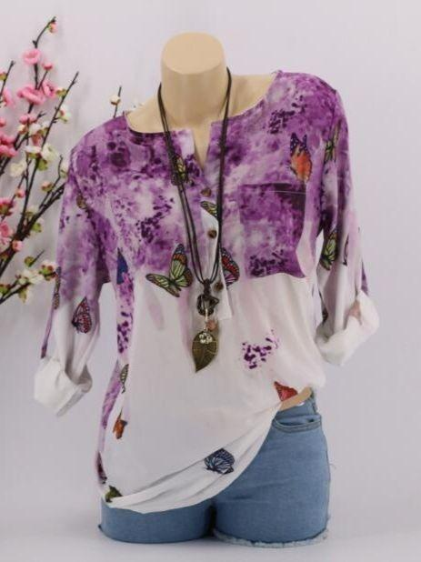 Women Plus Size Bohemian Floral Printed Long Sleeve Blouse Tops