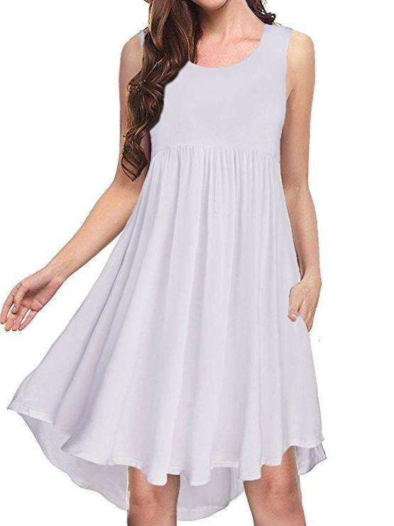 Women Sleeveless Loose Soft Swing Dress with Pockets