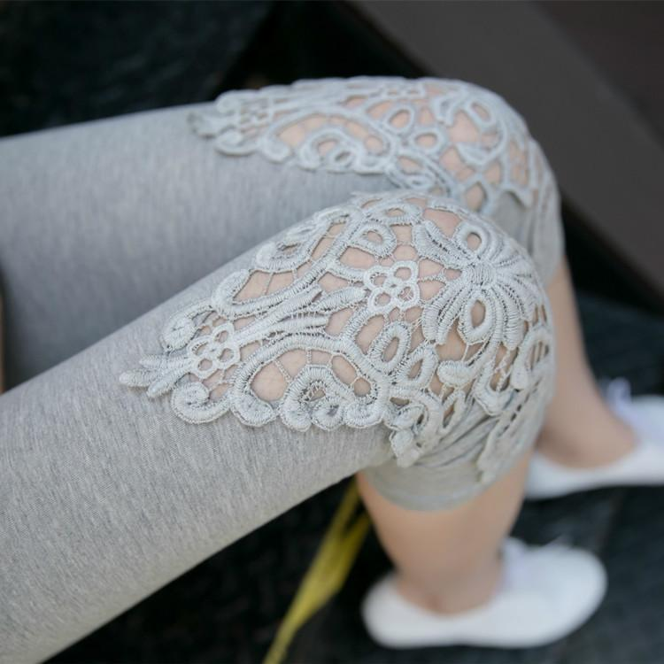 Summer Women Fashion Solid Color Short Leggings Cotton Knitted Flower Skinny Pants Yoga Leggings