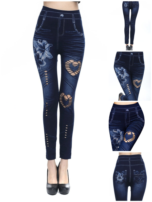 Sexy Women Fashion Denim Like Faux Jean Slim Fit Leggings Pants Faxu Denim Pants Elastic Pants Leggings