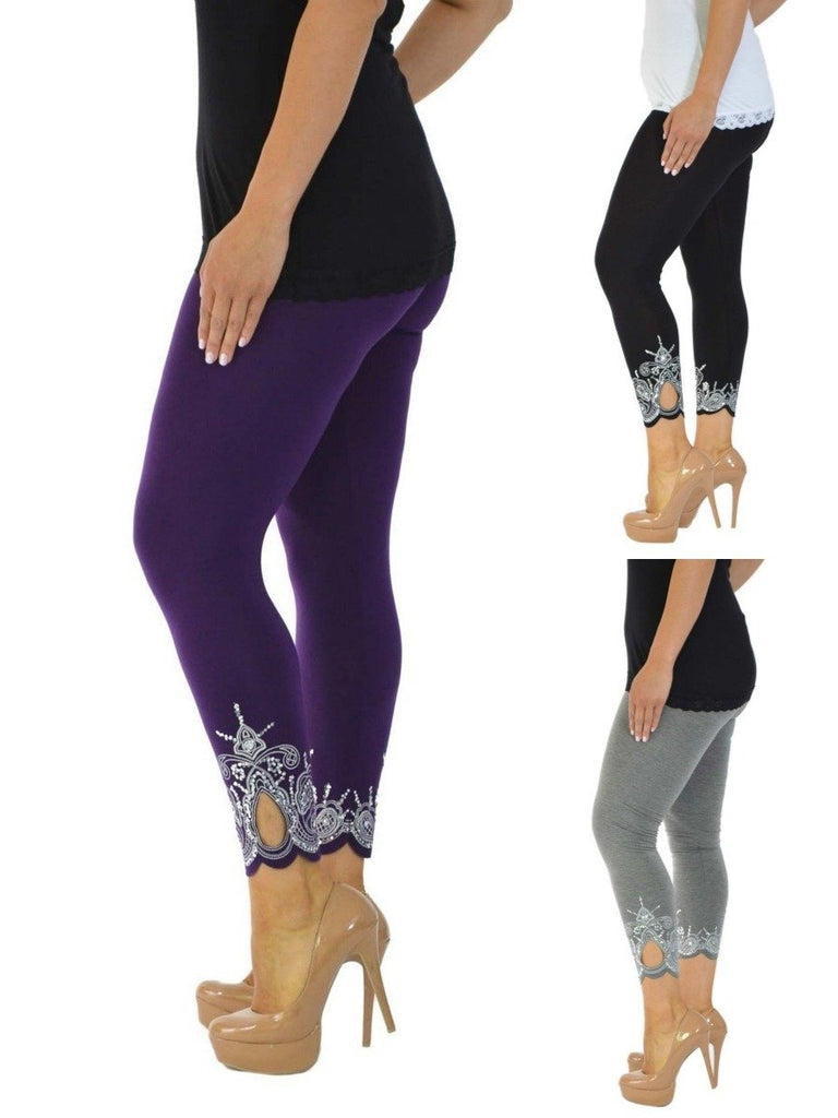 New Womens Plus Size Nouvelle Laser Printing Full Length Leggings