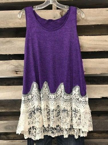 Casual Loose O-neck Plus Size Lace Hem Tunic Dress Long Blouse