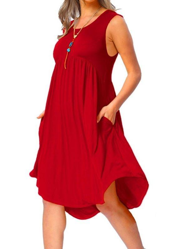 Casual Loose Beach O-neck Plus Size Dress with Pocket