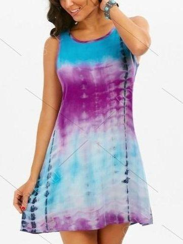 Sleeveless O-neck Patchwork Multi Color Cotton Mini Dress