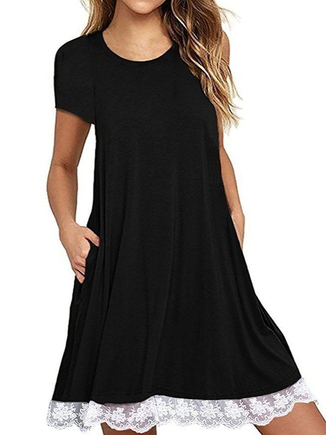 Women Short  Sleeve Lace Hem Dress with Pockets