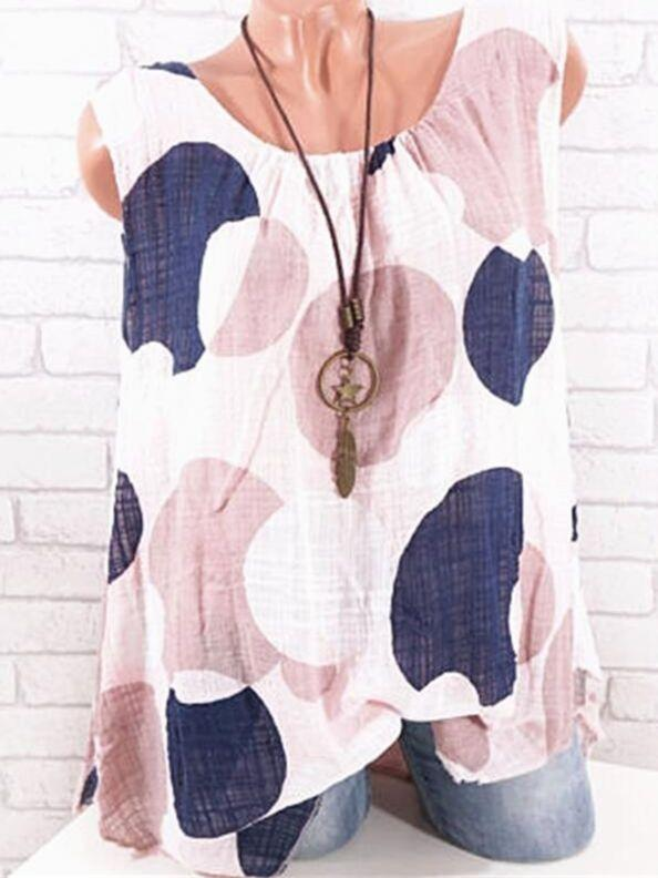 Women Sleeveless Printed Plus Size Blouse Tops