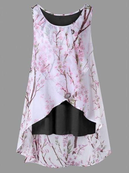 Women Sleeveless Floral Printed Plus Size Blouse Shirt Tops