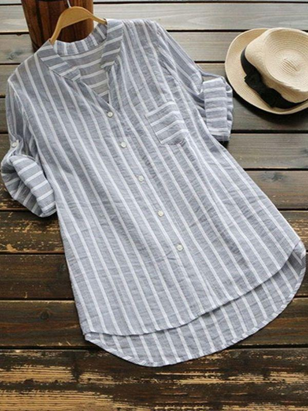Women Half Sleeve Striped Linen V-neck Blouse