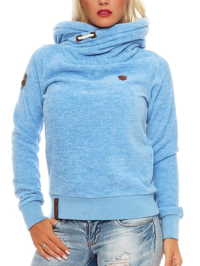 Womens Plus Size Long Sleeve Loose Pullover Turtleneck Hoodies
