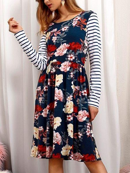 Women Long Sleeve Round-neck Floral Printed Short Dress