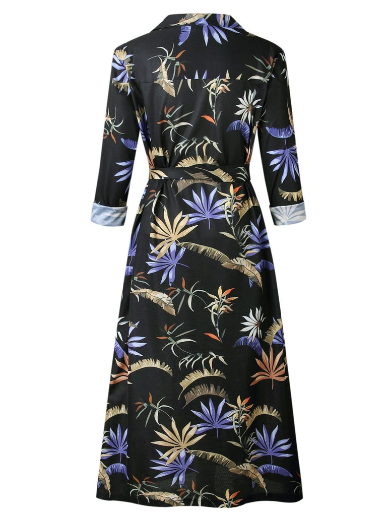 Women Long Sleeve V-neck Floral Printed Short Dress