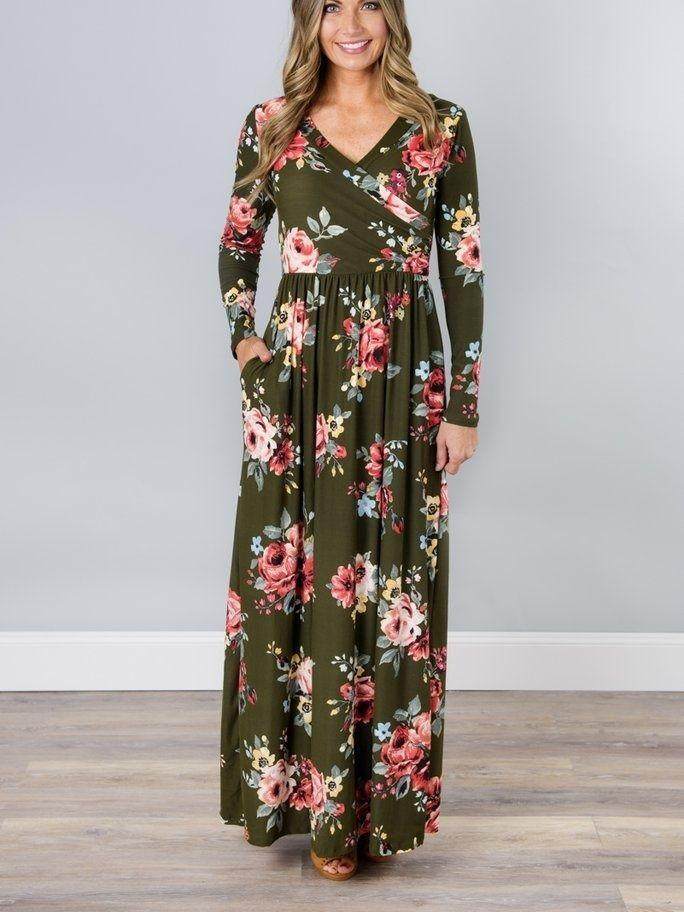 Women Long Sleeve V-neck Floral Printed Maxi Dress With Pockets for Vacation