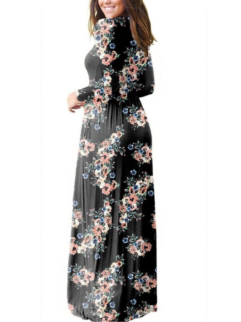 Women Long Sleeve Round-neck Floral Printed Maxi Dress With Pockets for Vacation